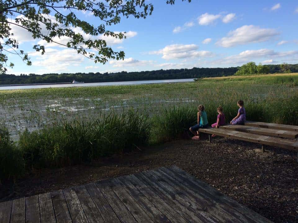 my daughters enjoying the scenery on one of our camping trips