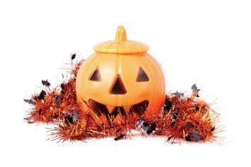 plastic Halloween pumpkin center piece