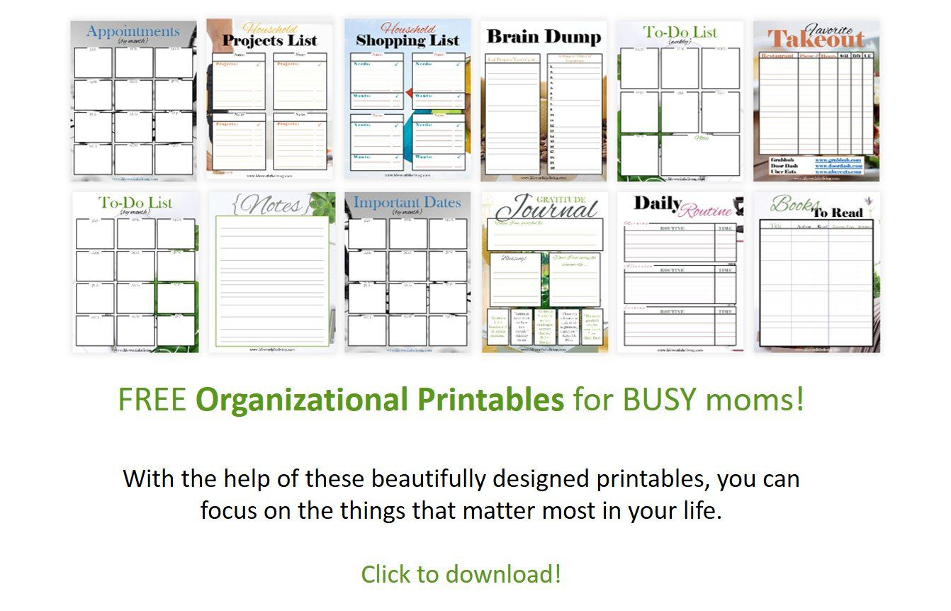 free organizational printables for busy moms