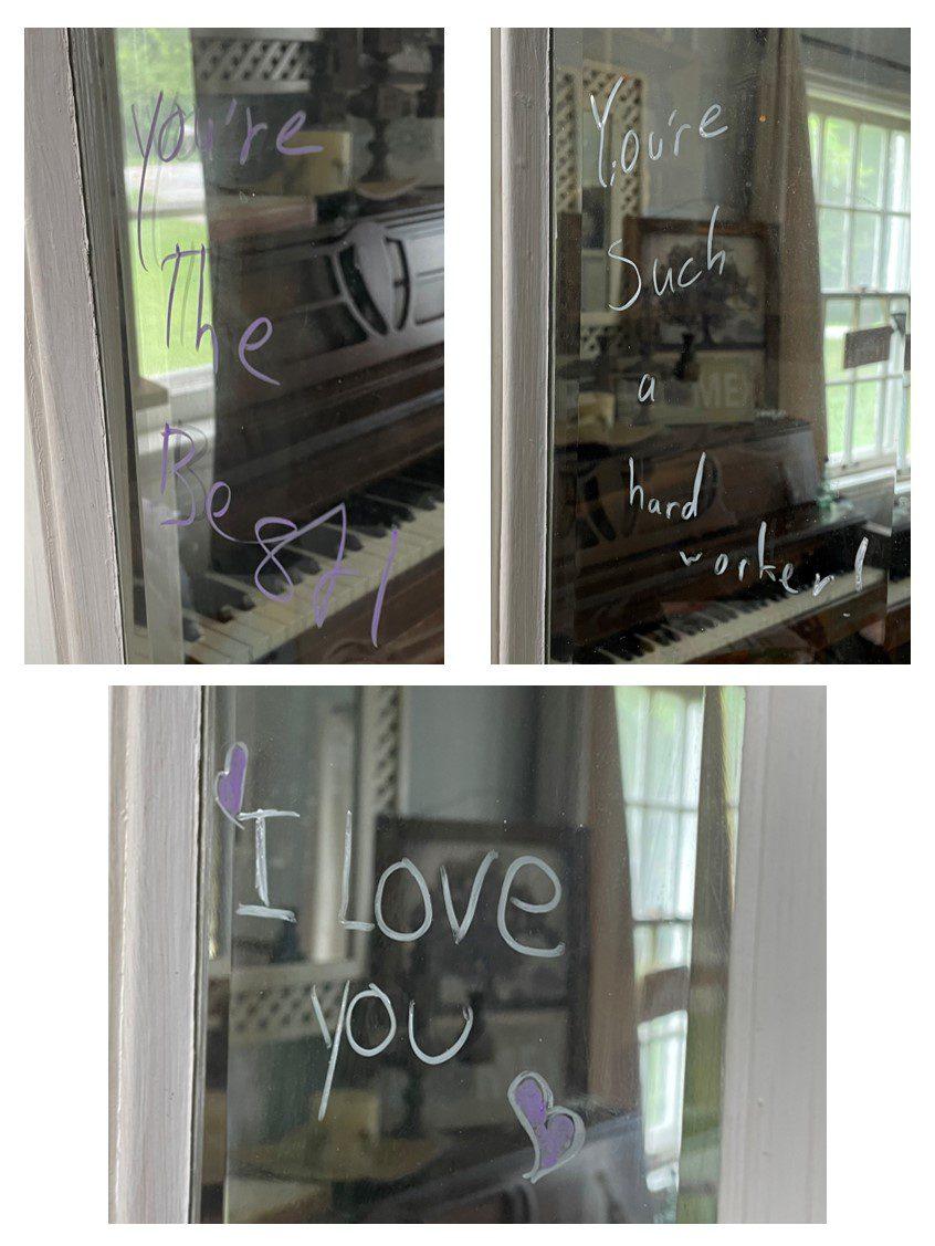 positive affirmation left on several window panes